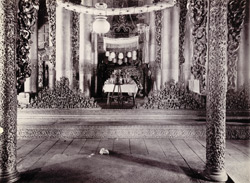 Interior of the Central Hall of Queen's Golden Monastery, [Mandalay]